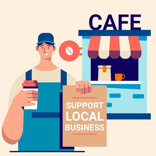 Soutenir Le Concept D'entreprise Locale Vecteur gratuit