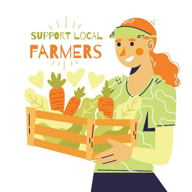 Soutenir Le Concept D'illustration Des Agriculteurs Locaux Vecteur gratuit