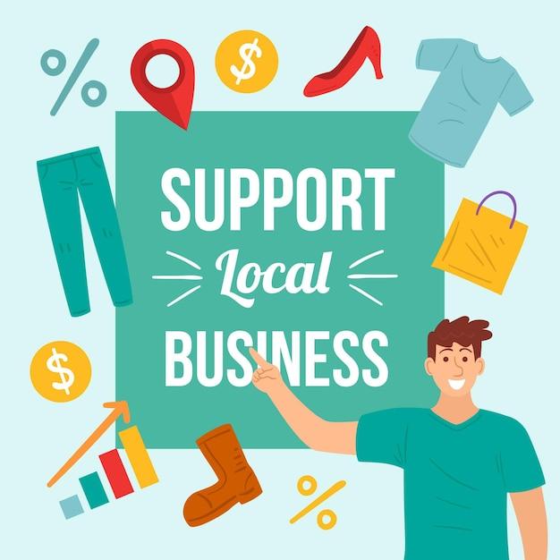 Soutenir Le Message Commercial Local Vecteur gratuit