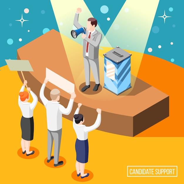 Soutien Du Candidat Politique Pendant La Campagne électorale Illustration Isométrique Avec Orateur Et Citoyens Avec Des Pancartes Vecteur gratuit