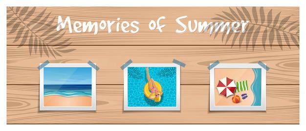 Souvenirs D'été. Des Photos Sur Le Repos D'été Sont Fixées Avec Un Ruban Adhésif Sur La Planche De Bois. Vecteur Premium