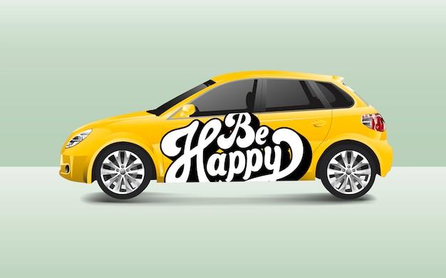 Soyez heureux typographie sur un vecteur de voiture à hayon Vecteur gratuit