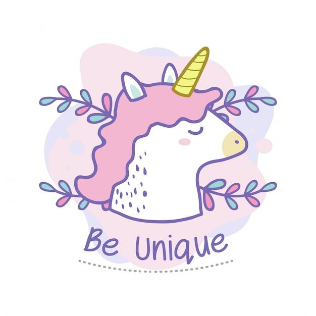 Soyez unique citation de mignon doodle licorne Vecteur Premium
