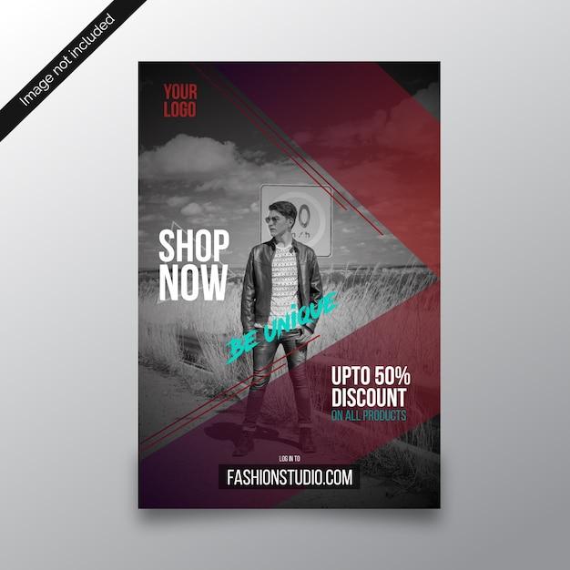 Soyez unique modèle de flyer discount magasin de mode Vecteur Premium