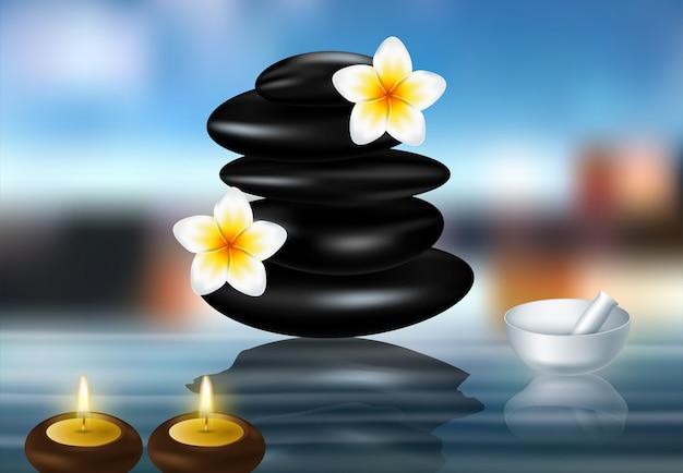 Spa Concept Zen Stones Et Fleurs De Frangipanier Vecteur Premium