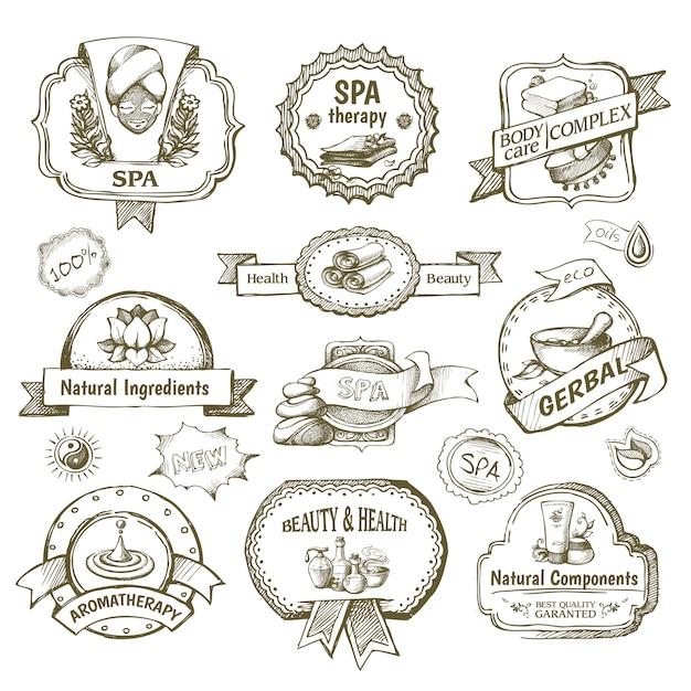 Spa label label set Vecteur gratuit