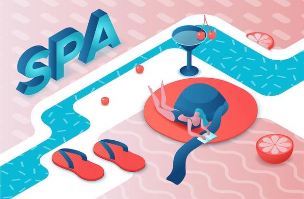 Spa party 3d lettres isométriques, été Vecteur Premium