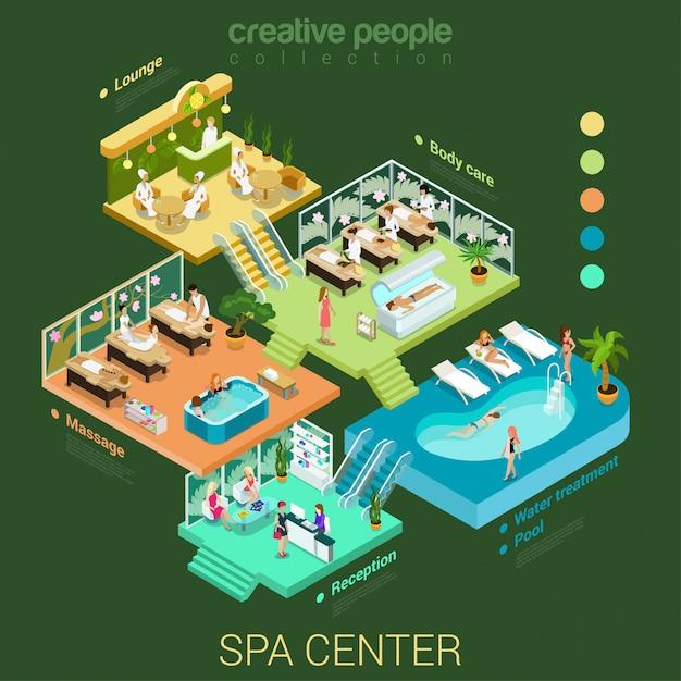 Spa salon centre intérieur créatif concept isométrique vector illustration. Vecteur gratuit