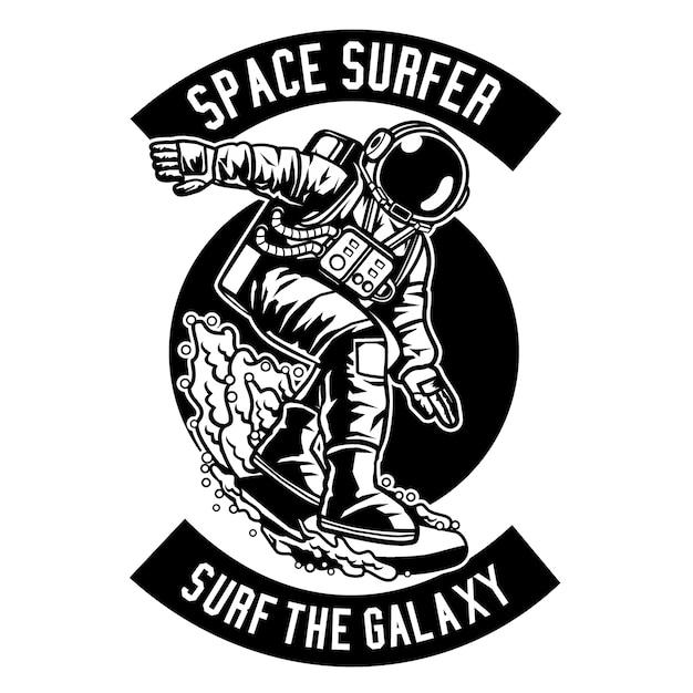 Space surfer Vecteur Premium