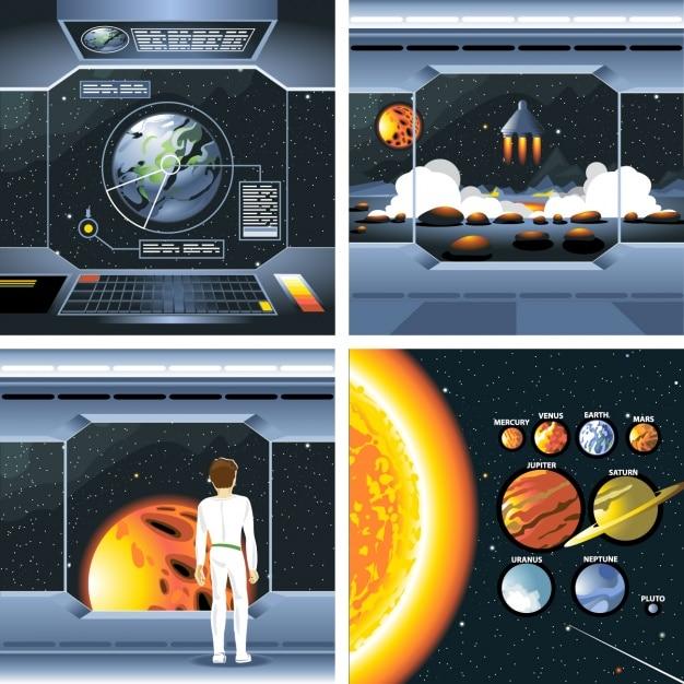Spacecraft et des planètes Vecteur gratuit