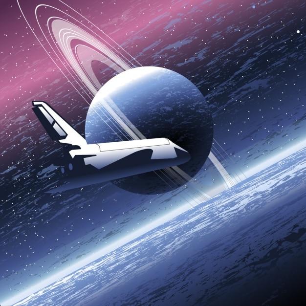 Spaceship dans l'univers Vecteur gratuit