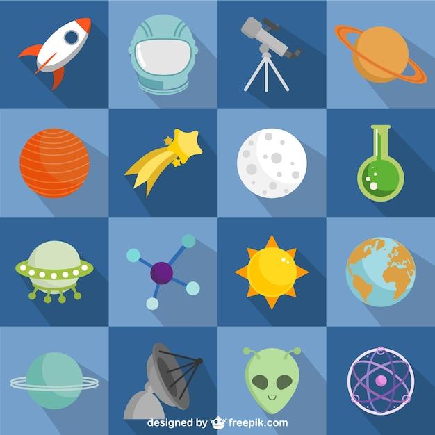 Spatiaux et les astronautes plat icônes colorées Vecteur gratuit