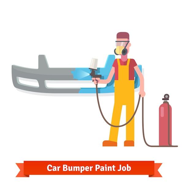 Spécialiste peinture par pulvérisation auto pare-chocs Vecteur gratuit