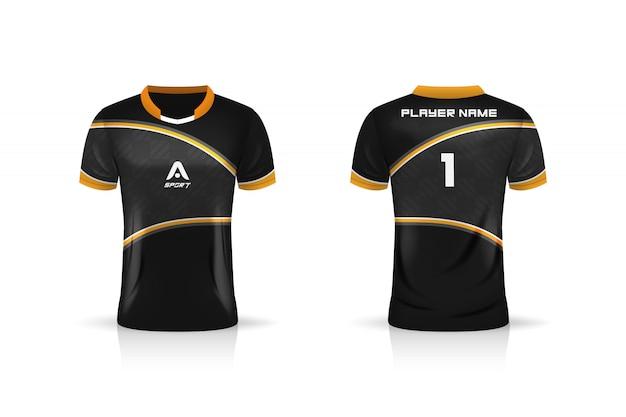 Spécification Soccer Sport, Modèle De Maillot De Sport Esports Gaming T Shirt. Uniforme. Illustration Vecteur Premium