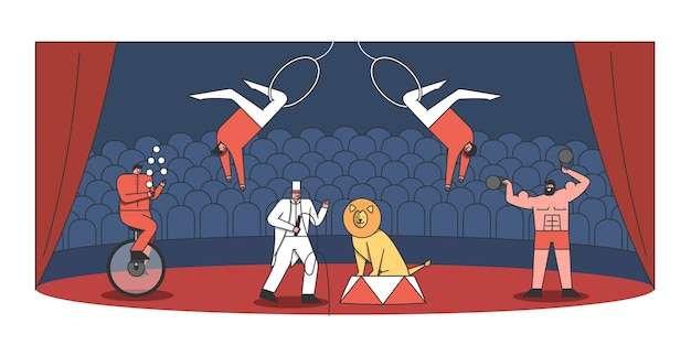 Spectacle D'arène Et D'artistes De Cirque. Jongleur, Dompteur Avec Lion, Homme Fort Et Acrobate Faisant Un Spectacle Vecteur Premium