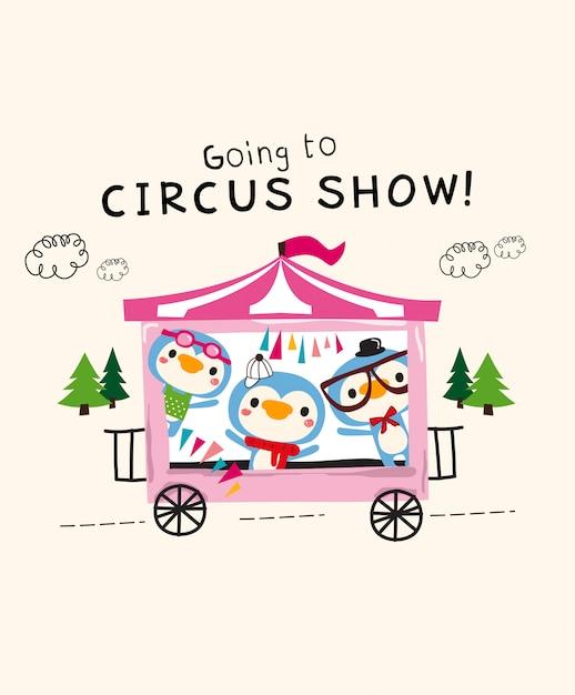 Spectacle de cirque mignon Vecteur Premium