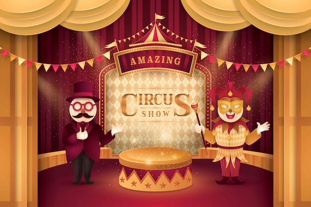 Spectacle de cirque Vecteur Premium
