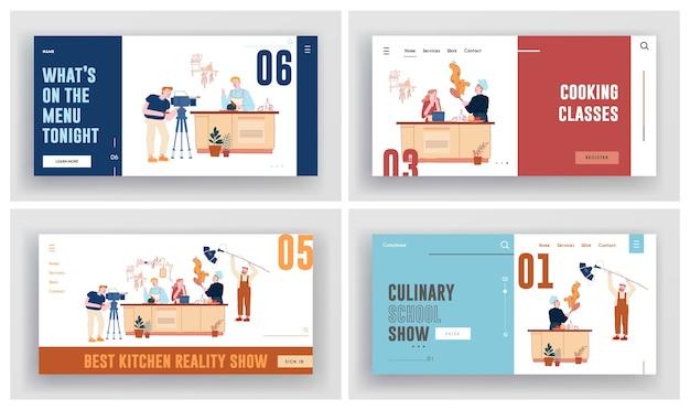 Spectacle Culinaire, Enregistrement De Classe De Maître Dans L'ensemble De Pages De Destination Du Site Web Studio Vecteur Premium