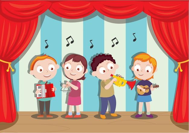Spectacle musical réalisé par de jeunes étudiants Vecteur Premium