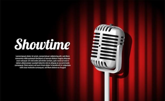Spectacle de scène vintage microphone permanent Vecteur Premium