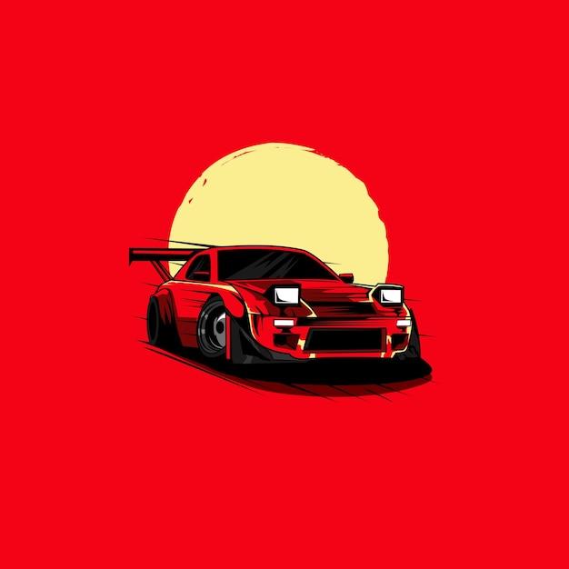 Speed Car Et La Lune Vecteur Premium