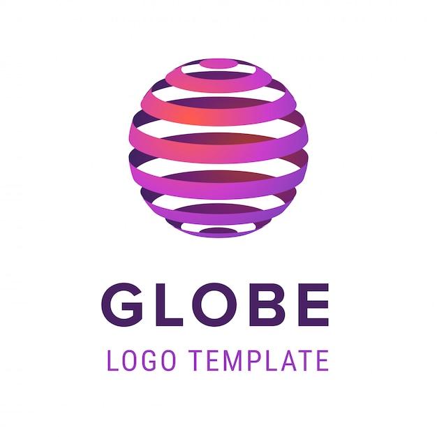 Sphère abstraite avec modèle de conception de logo lignes Vecteur Premium