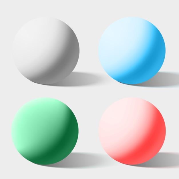Sphères de couleurs réalistes isolés sur blanc. illustration vectorielle Vecteur Premium