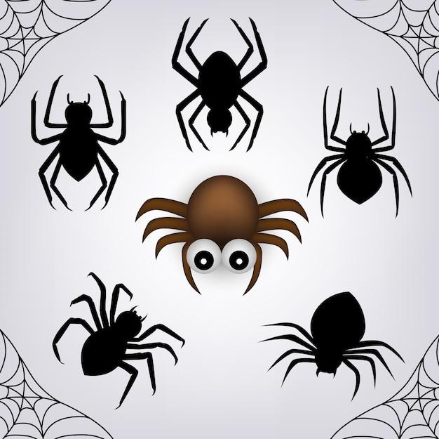 Spider set pour objet halloween day Vecteur Premium