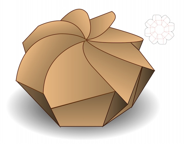 Spiral box packaging die cut design template Vecteur Premium