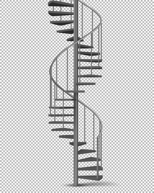 Spirale métallique, vecteur réaliste d'escalier hélicoïdal Vecteur gratuit