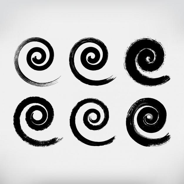 Spirales peintes à la main mis Vecteur gratuit