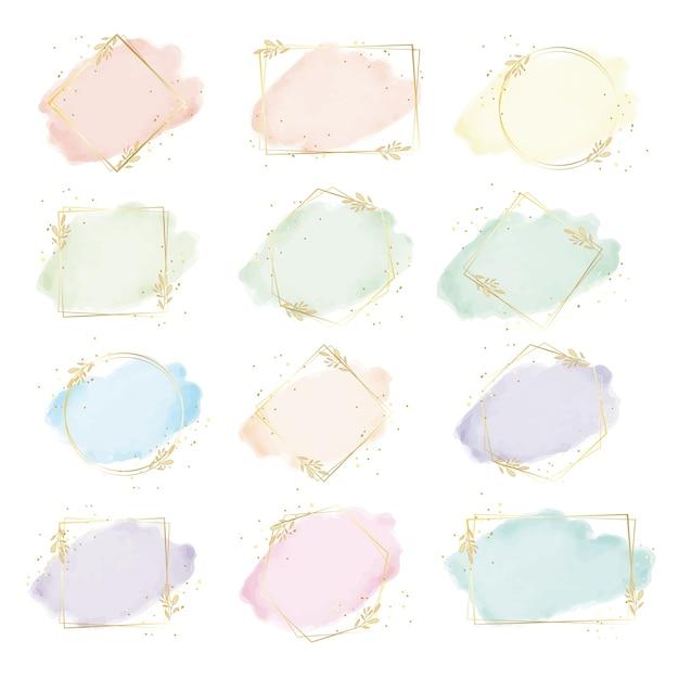 Splash Aquarelle Colorée Avec Peinture Numérique Collection De Cadre De Feuille D'or Géométrie Vecteur Premium