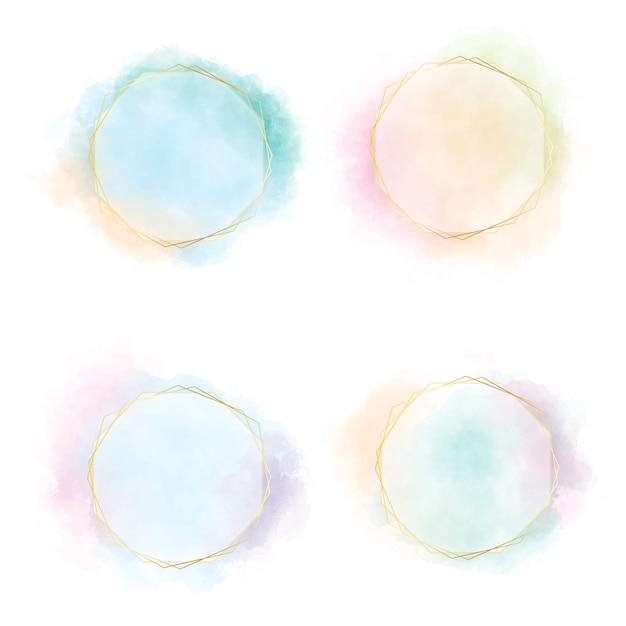 Splash Coloré Cercle Aquarelle Dégradé Bleu Vert Rose Et Orange Avec Cadre Doré Vecteur Premium