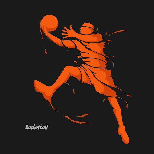Splash joueur de basket Vecteur Premium