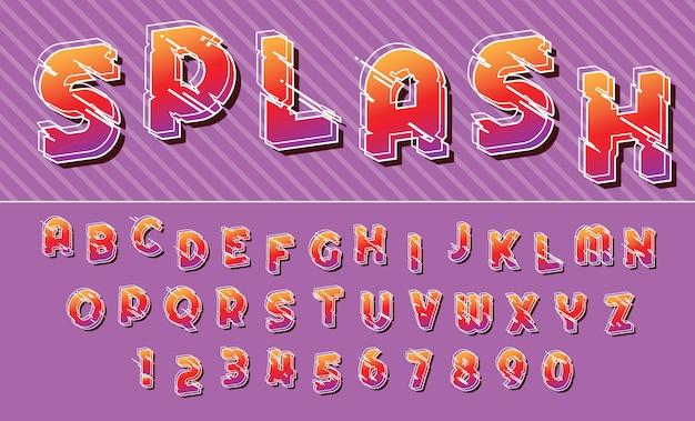 Splash Lignes Alphabet Chiffres Et Lettres De Conception De Police Coloré Vecteur Premium