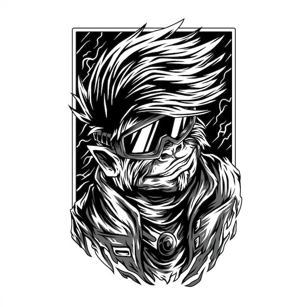 Splichood remasterisé illustration noir et blanc Vecteur Premium