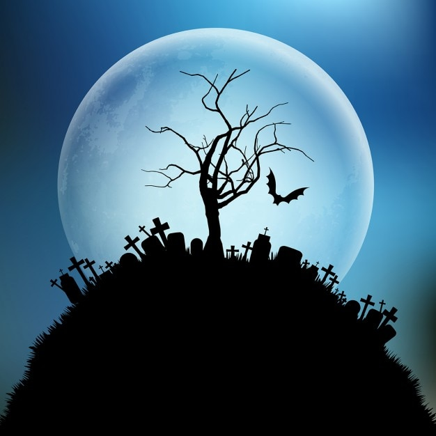 Spooky fond halloween avec un arbre contre la lune Vecteur gratuit