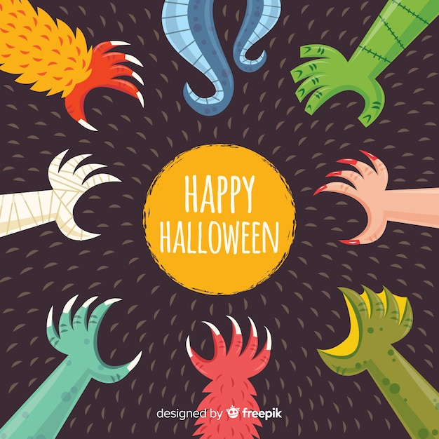 Spooky halloween background avec un design plat Vecteur gratuit