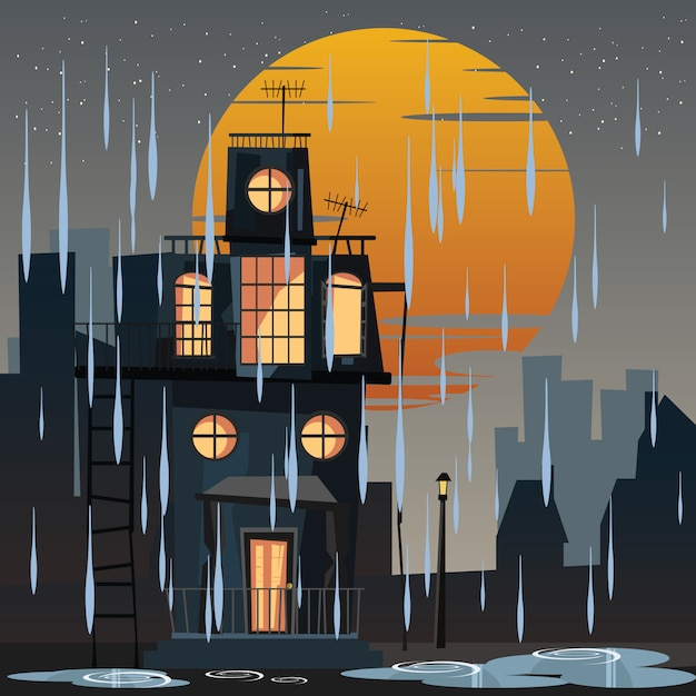 Spooky logé dans illustration vectorielle jour de pluie Vecteur Premium