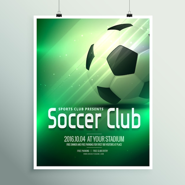 sport affiche flyer modèle de conception impressionnante avec le football en arrière-plan vert Vecteur gratuit
