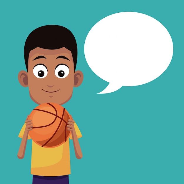 Sport De Basket-ball Garçon Parlant Vecteur Premium