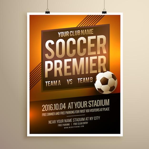 sport de soccer poster flyer de modèle de dessin vectoriel Vecteur gratuit
