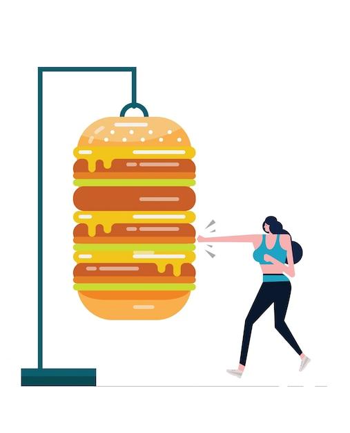 Sport Femme Boxe Gros Hamburger. Combattre Le Concept De La Nourriture Malsaine. Vecteur Premium