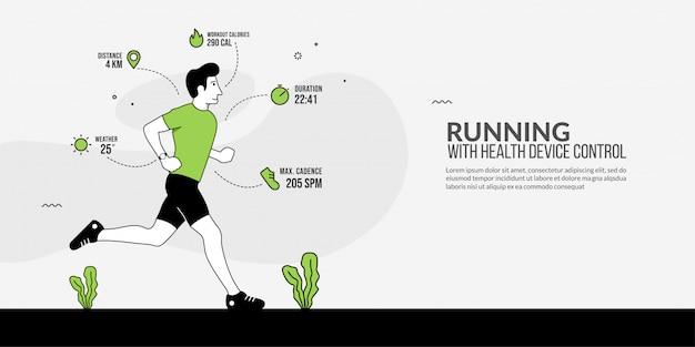 Sport Homme En Cours D'exécution Avec Montre Intelligente Sur Sa Main, Suivi Des Appareils De Santé, Technologie De Fitness Moderne Vecteur Premium