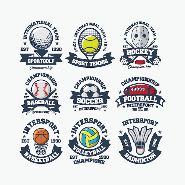 Sport logo international vecteur Vecteur Premium