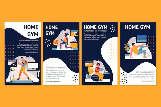 Sport à La Maison Instagram Stories Vecteur gratuit