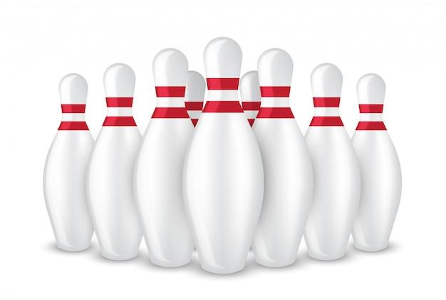 Sport réaliste de pin bowling 3d isolé Vecteur Premium