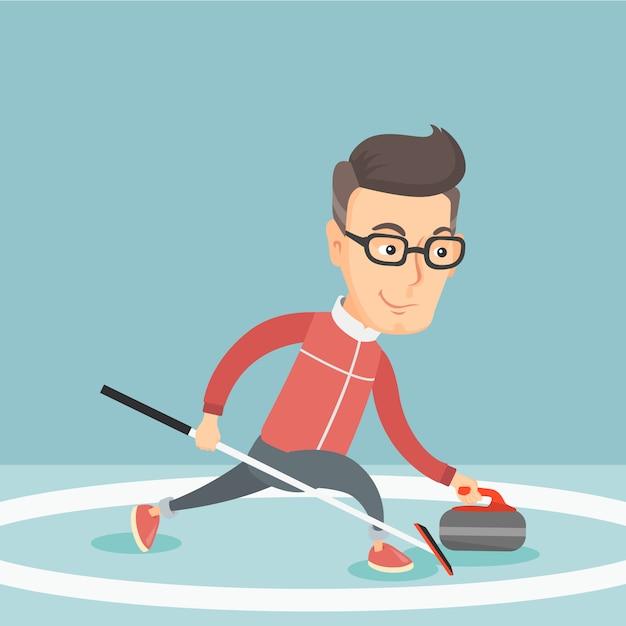Sportif jouant au curling sur une patinoire. Vecteur Premium