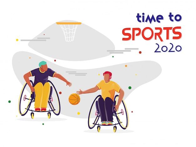 Sportifs Handicapés Jouant Au Basket-ball Et Cerceau Sur Fond Blanc Pour Time To Sports 2020. Vecteur Premium