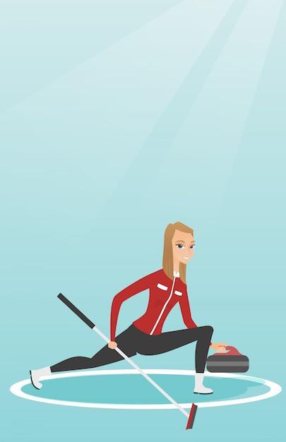 Sportive jouant au curling sur une patinoire Vecteur Premium